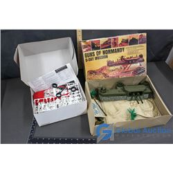 (2) Model Kits - Guns of Normandy D-Day Invasion and 1998 Corvette Roadster