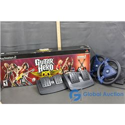 Video Game Accessories & Guitar Hero Game With (2) Guitars