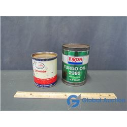 Imperial Marvelube And Exxon Turbo Oil Tin Cans