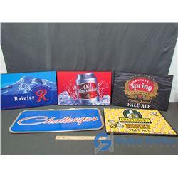 Wooden & Cardboard Beer Advertising