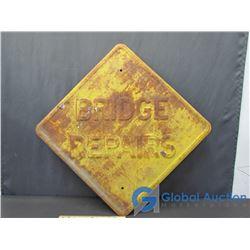 """Metal Embossed """"Bridge Repairs"""" Sign"""