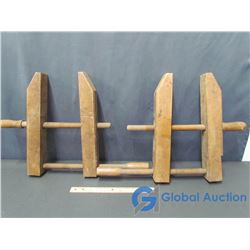 (2) Wooden Carpenters Clamps