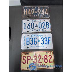 (4) Ontario & Manitoba License Plates