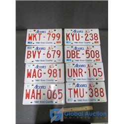 (8) Alberta License Plates