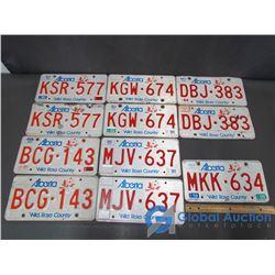 5 Pairs of Alberta License Plates & 1 Bonus