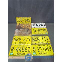 (9) Alberta License Plates - Farm/Wildrose/Commercial