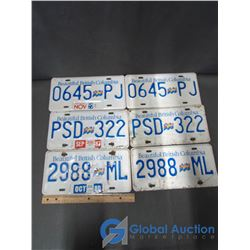 3 Pairs of BC License Plates