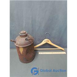CNR Oil Pail & CN Wooden Coat Hanger