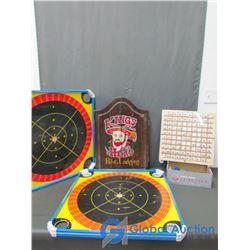 Kings Head Dart Board with Darts and Krockeno and Checker Board