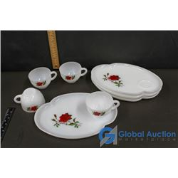 (4) Rose Tea Cups/Dainty Plate Set