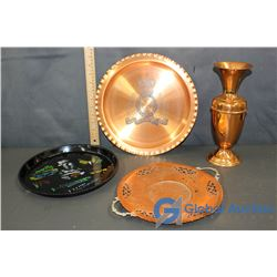 Brass Vase, Decorative Plates (1 Stamped: RCMP), & Plastic Decorative Serving Tray