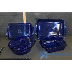 5 Pcs Blue Glass Anchor Ovenware Baking Dishes