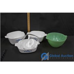 Fire King Jadeite Oven Ware, & 3 Pcs Corning Ware Ovenware With Glass Lid