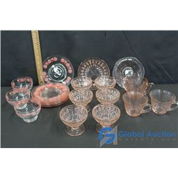Assorted Glassware: Decorative Clear & Pink Depression Glass