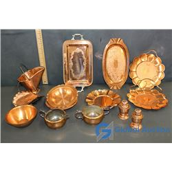 11 pcs. Of Copper Serving Dishes