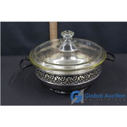 Pyrex Lidded Bowl in Stamped Sterling Silver Server