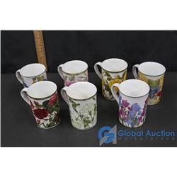 (7) Flowered Designed Coffee/Tea Mugs