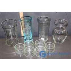 (7) Small Dessert Bowls & (4) Glass Vases