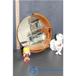 Mirrored Wooden Shelf, Cherub, & Girl Figurine