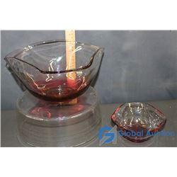 (2) Coloured Glass Bowls