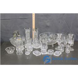 Assorted Crystalware: Glasses, Bowls, Creamer/Sugar, & Etc.