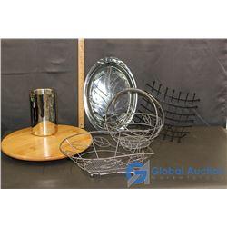 Lazy Susan; Pyrex Platter; Fruit Baskets & Utensil Caddy