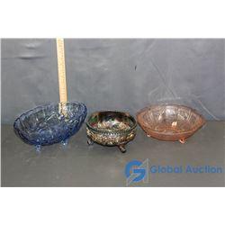 Pink Depression Glass Serving Bowl; Blue Serving Platter & Decorative Glass Bowl