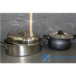 3 Piece Stainless Steel Roaster & Non-Stick Pasta Pot