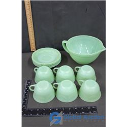 Fire King Jadeite Glassware: Cups, Saucers, & Mixing Bowl