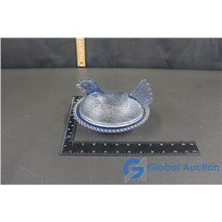 Hen on Nest Blue Glassware