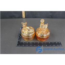 (2) Coloured Glassware with Lid (dogs on top of lids)