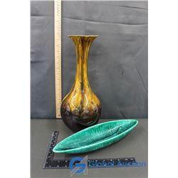(2) Glazed Pottery Decor