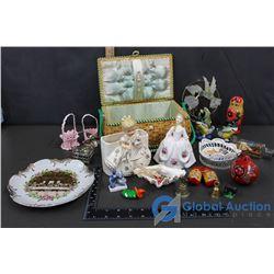 """Basket Of Figurines, Trinkets, Mini Boat in Bottle, Decore Plate """"The Last Supper"""", & Russian Nestin"""