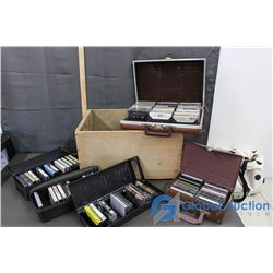 Wooden Crate & 5 Cassette Cases With Various Cassettes