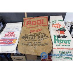 4 Five Roses Flour Bags, 3 Wheat Pool Seed Bags & 2 Robin Hood Flour Bags