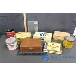 6 Cigar Boxes & Tobacco Cans