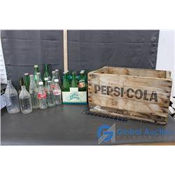 Vintage Glass Bottles & Pepsi-Cola Wooden Crate