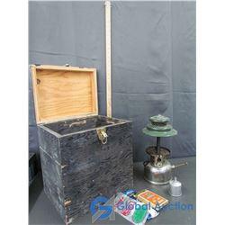 Black Wooden Box, Coleman Lantern with Accessories