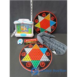 Chinese Checkers, Wellington Wooden Checkers, Fisher-Price Aquarium and Baby Head Support Pillow
