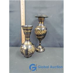 (2) Brass Decorative Vases