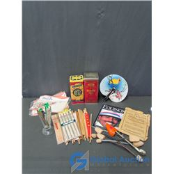 Cracker Tins, (Ritz Crakers, & Premium Plus Crakers), Bamboo Chop Sticks, Hand Fan, Milkshake Glass