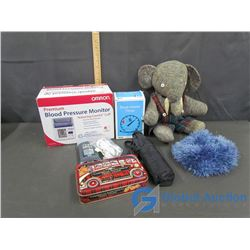 Omron Premium Blood Pressure Monitor, Block Heater Timer, Umbrella, Hat, Stuffed Elephant, Etc.