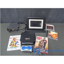 CD's, DVD's, Hand Handle Radio, Digital Photo Frame, & Aux Display Switch