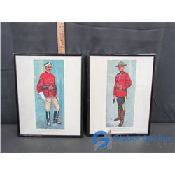 """(2) Framed Pictures: """"Royal Canadian Mounted Police Uniform""""- 1973 & """"North West Mounted Police Unif"""