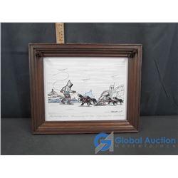 "Wood Framed Eskimo & Igloo Drawing: Febuary 2007 ""Harnessing Up Dogs"""