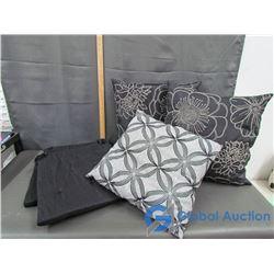 (3)Throw Pillows & (3) Chair Seat Cusions
