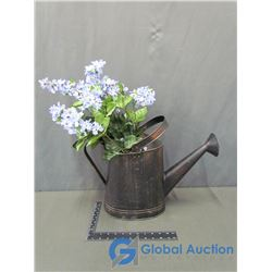 Flowers & Metal Watering Can Decor