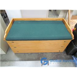 Wooden Seating Bench with Drawers, Filled with Table Cloths, Place Mats, Sheets, Etc.