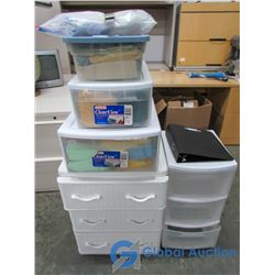 (2) Plastic 3-Drawer Storage Systems, (2) Single Drawer, Plastic storage Box Filled with Linen, Bind