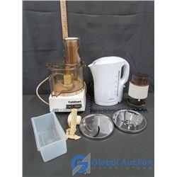 Cuisinart Food Processor, Sunbeam Electric Kettle, & Coffee Grinder